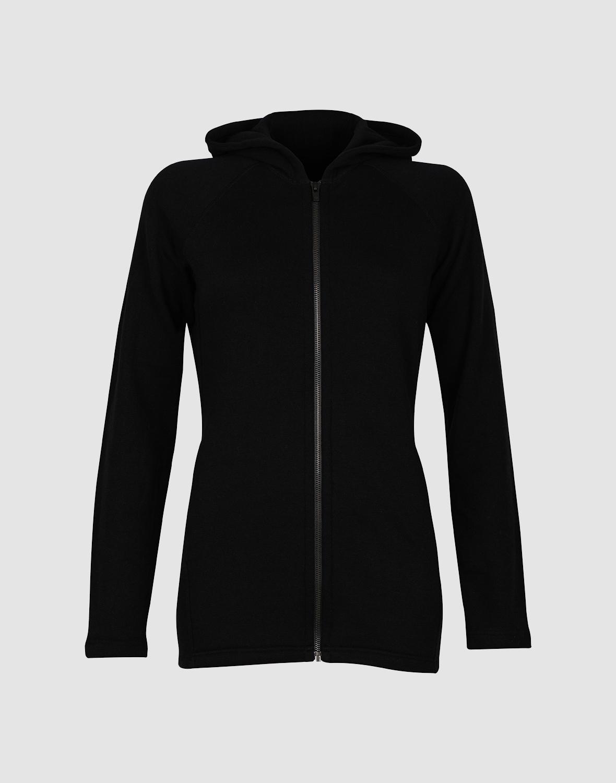 Details zu DILLING Frottee Kapuzenjacke für Damen schwarz 100% BIO Merinowolle NEU