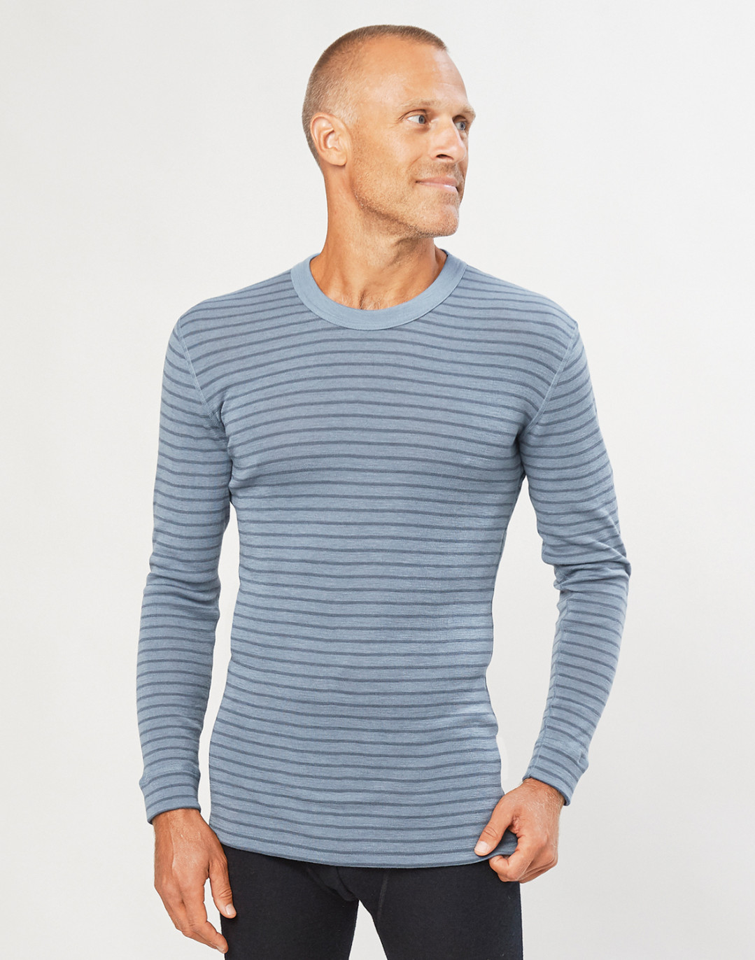Merino Langarmshirt für Herren blau gestreift