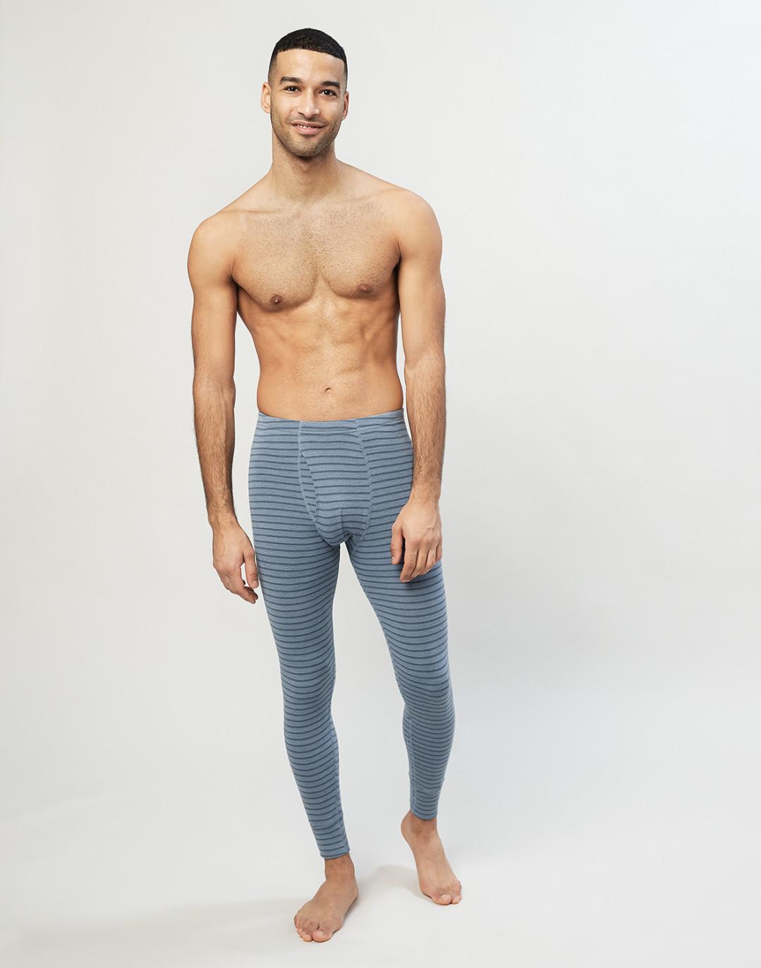 Merino Leggings mit Eingriff blau gestreift