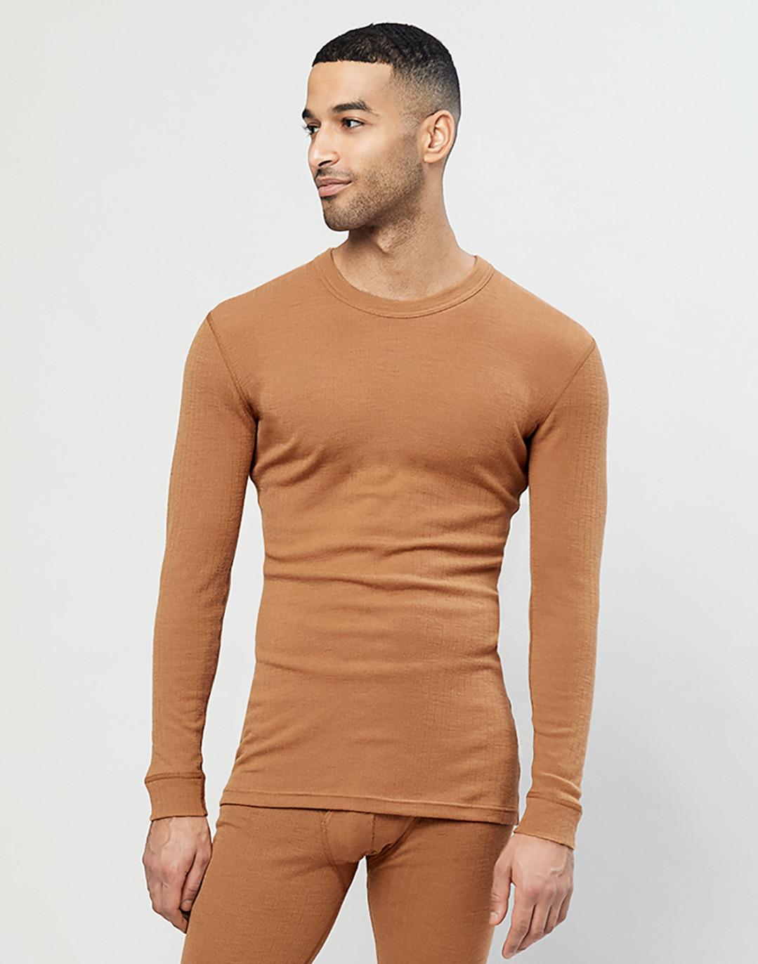 Merino Langarmshirt für Herren in Rippstrick Karamell