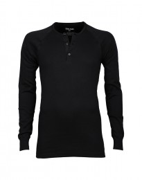 Premium Classic - Baumwoll Langarmshirt mit Knopfleiste für Herren schwarz