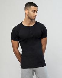 Premium Classic - Baumwoll Shirt mit Knopfleiste für Herren schwarz