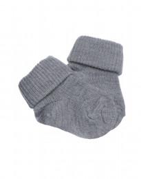 Baby Socken natürliche Merinowlle grau melange