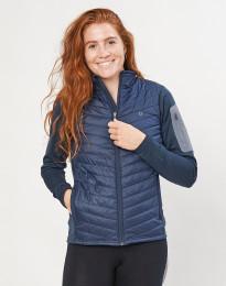Hybridjacke mit Reißverschluss für Damen - aus recyceltem Polyester / Merinowolle dunkelblau
