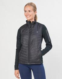 Damen Hybridjacke mit Reißverschluss - recyceltes Polyester / Merinowolle schwarz