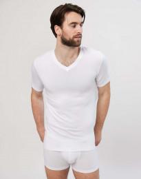 Baumwoll T-Shirt für Herren V Ausschnitt weiß