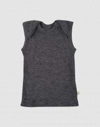 Merino Hemdchen für Babys dunkelgrau meliert