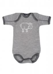 Merino Body für Babys grau melange
