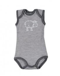 Merino Body ohne Ärmel für Babys grau melange