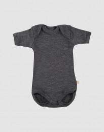 Baby Kurzarm Body Merinowolle dunkelgrau meliert