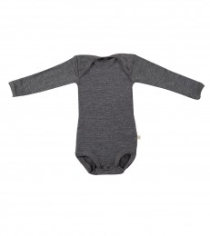 Baby Langarm Body aus Merinowolle dunkelgrau meliert