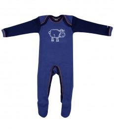 Merino Baby Strampler dunkelblau