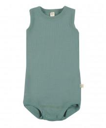 Merino Body ohne Ärmel für Babys hellgrün