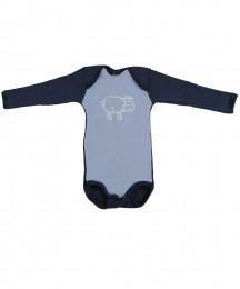 Langarm Baby Body - Bio Merinowolle blau