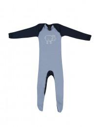 Baby Body mit Füßen - Bio Merinowolle blau