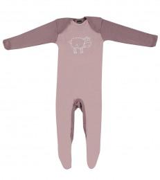 Baby Body mit Füßen - Bio Merinowolle hellrosa