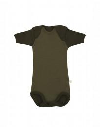 Baby Body kurzarm - BIO Merinowolle Grün