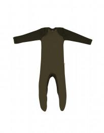 Merino Baby Strampler mit Füßen Grün