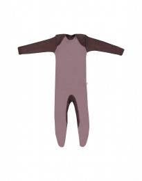 Merino Baby Strampler mit Füßen Rosé