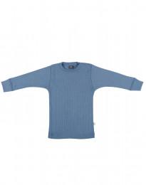 Merino Pullover in breitem Rippstrick taubenblau
