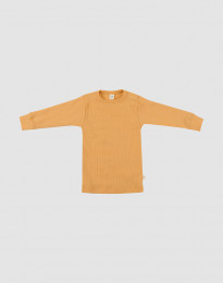 Merino Shirt in breitem Rippstrick Gelb