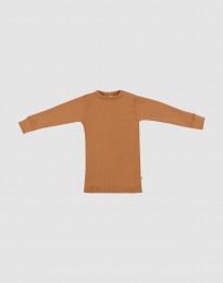 Merino Shirt in breitem Ripp für Babys Karamell