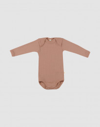 Baby Langarm Body Merinowolle Puder