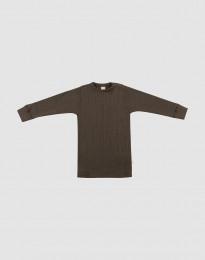 Merino Shirt in breitem Ripp für Babys Schokobraun