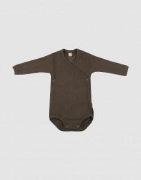 Baby Wickelbody in Rippstrick aus Wolle Schokobraun