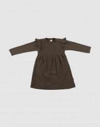 Wollkleid im Rippstrick mit Rüschen für Babys Schokobraun