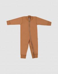 Baby Anzug aus Wollfrottee Karamell