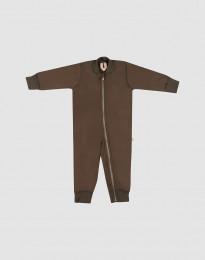 Baby Anzug aus Wollfrottee Schokobraun