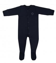 Baby Body mit Füßen aus Bio Baumwolle navy