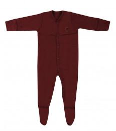 Baby Body mit Füßen aus Bio Baumwolle bordeauxrot