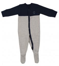Baby Body mit Füßen aus Baumwolle navy/gestreift