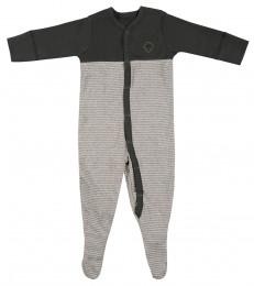 Baby Body mit Füßen aus Baumwolle grün/gestreift