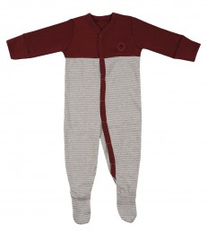 Baby Body mit Füßen aus Baumwolle rot/gestreift