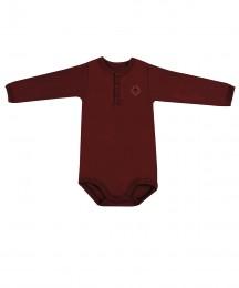 Langarm Baby Body aus natürlicher Baumwolle bordeauxrot
