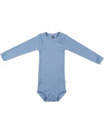 Langarm Baby Body aus natürlicher Baumwolle blau