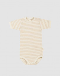 Kurzarmbody für Babys aus Bio Wolle/Seide beige/natur