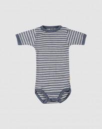 Kurzärmliger Baby Body aus Bio Wolle-Seide blau meliert/ natur