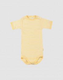Kurzarmbody für Babys aus Bio Wolle und Seide Hellgelb/Natur
