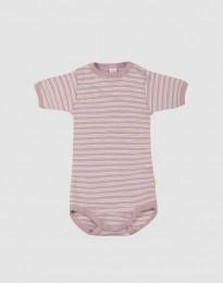 Kurzärmliger Baby Body aus Bio Wolle-Seide pastellrosa/ natur