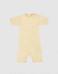 Sommeranzug für Babys aus Bio Wolle und Seide Hellgelb/Natur
