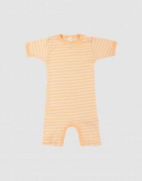 Sommer Body für Babys aus Wolle-Seide aprikot/natur