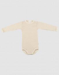 Baby Body mit langen Ärmeln aus Wolle-Seide beige/natur