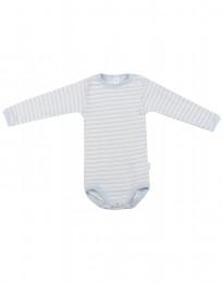 Baby Body mit langen Ärmeln aus Wolle-Seide blau/natur