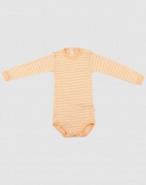 Baby Body mit langen Ärmeln aus Wolle-Seide aprikot/natur