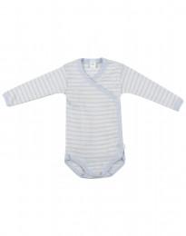 Wickelbody für Babys aus weicher Wolle-Seide blau/natur