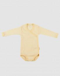 Wickelbody für Babys aus Bio Wolle-Seide Hellgelb/Natur